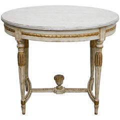 Antique Swedish Period Oval Table, Painted and Gilt Finish, 19th Century