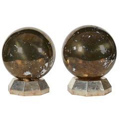 Fine Pair of Art Deco Jansen Style Platinum/Steel Marble Spheres on Stands