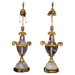 Pair French Art Deco Style & Dore Bronze Rock Crystal Quartz Lamps, Attr. Bagues