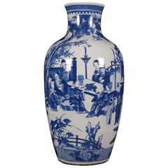 Large Chinese Porcelain Figural Blue and White Vase, 19th Century