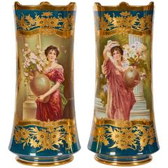 Pair of Berlin KPM Porcelain Vienna Style Iridescent-Green Ground Portrait Vases