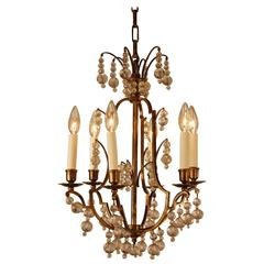 French Teardrop Crystal and Bronze Chandelier