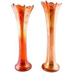 Pair of American Pressure Glass Vases, Mid-20th Century