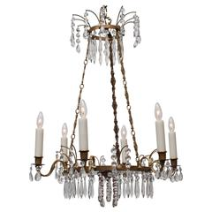 Neoclassic Style Swedish Six-Light Brass and Crystal Chandelier, circa 1910