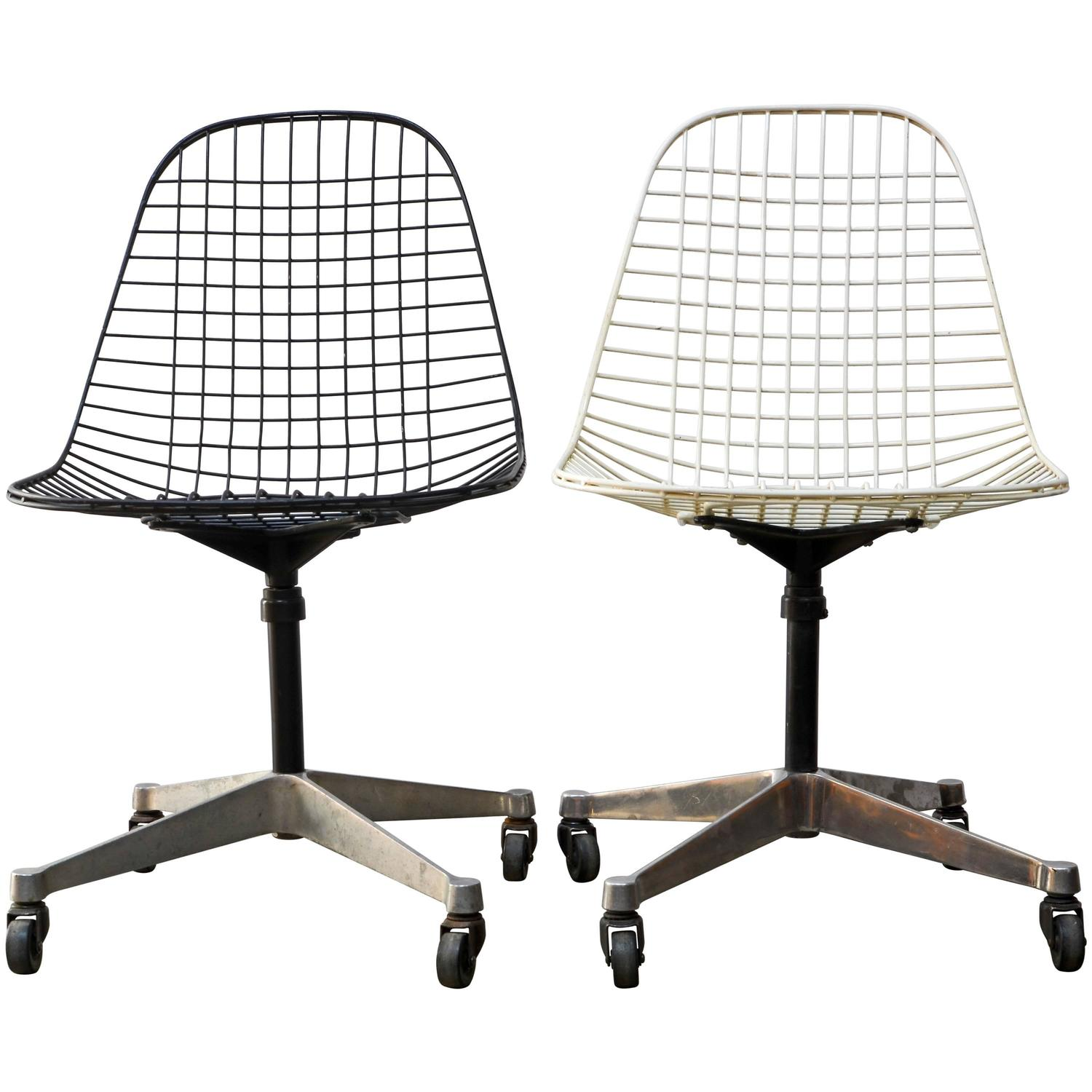 Eames PKC Wire Rolling Task Chairs for Herman Miller at 1stdibs