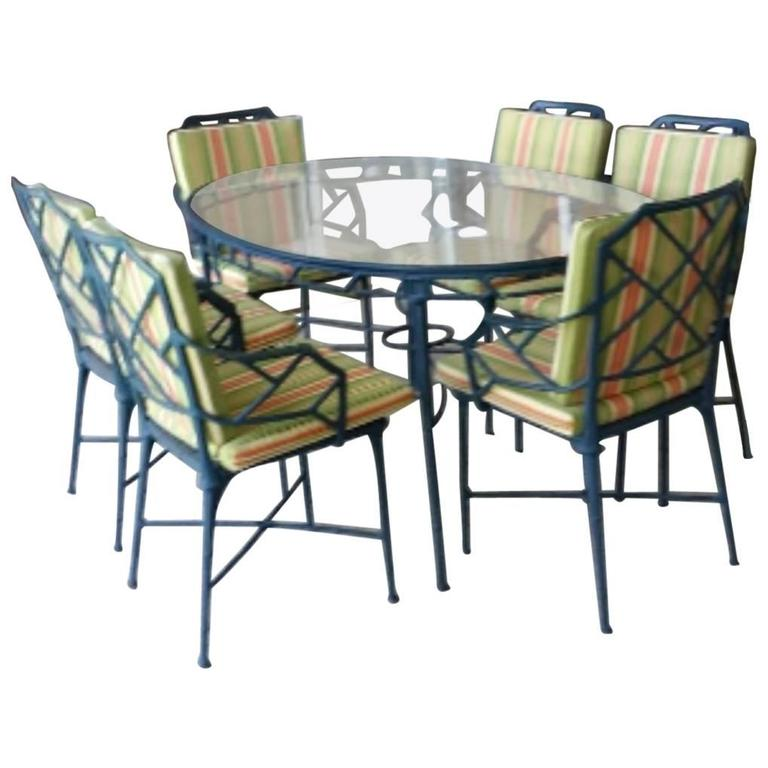 9 Pc Brown Jordan Calcutta Patio Set Dining Table Arm Chairs End Tables Bamboo At 1stdibs