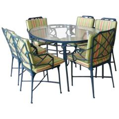 9 Pc Brown Jordan Calcutta Patio Set Dining Table Arm Chairs End Tables Bamboo