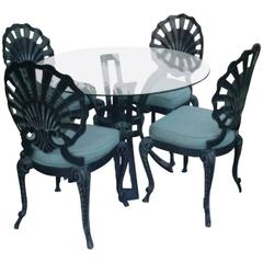 Brown Jordan Five-Piece Grotto Shell Back Metal Dining Table Chairs Patio Set