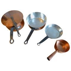 Beautiful Re-Tinned Set of Copper Pans, Copper Pots