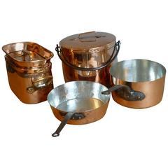 Magnificent Set of Re-Tinned Copper Pans, Pots