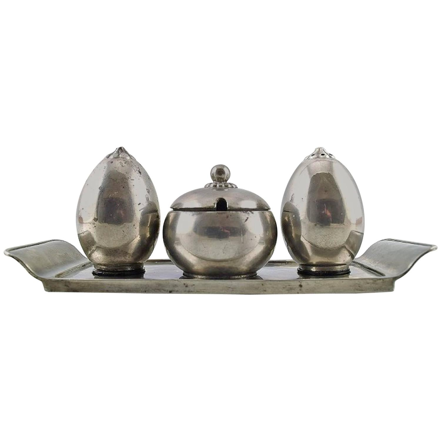 Just andersen art deco pewter plat du m nage on tray with for Anderson art glass