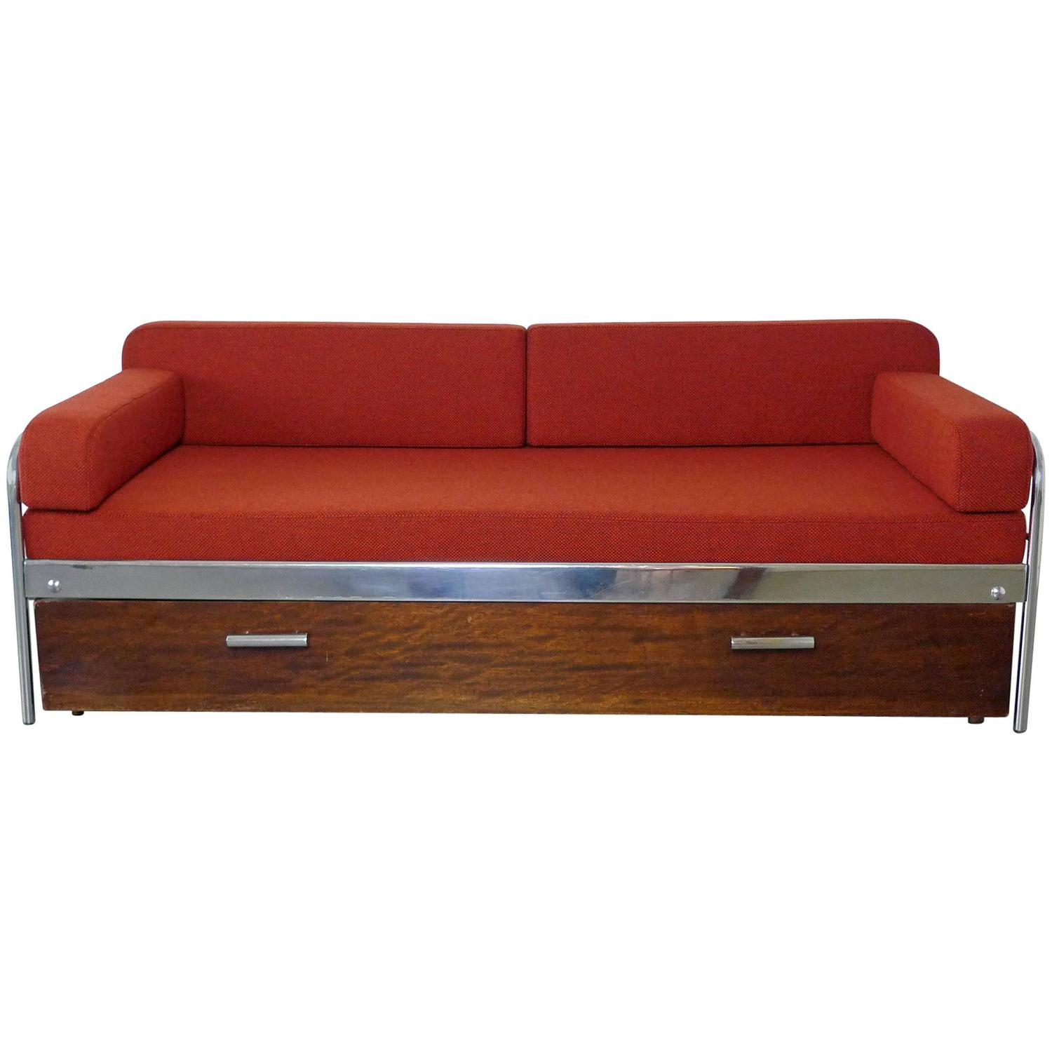 1930s Bauhaus Steel Tube Sofa Bed by Mücke and Melder