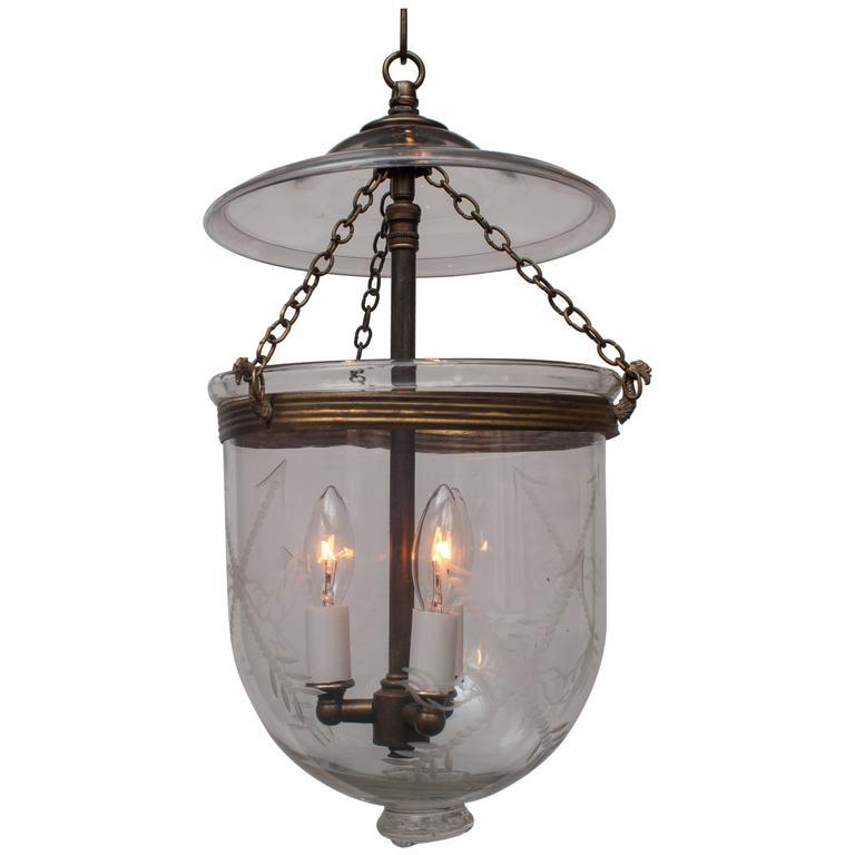 Spear Etched Bell Jar Lantern With Glass Pontil For