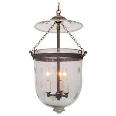 Etched Star Bell Jar Lantern with Glass Pontil