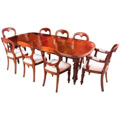 Antique Victorian Walnut Dining Table and Eight Balloon Back Chairs