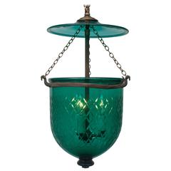 Green Diamond-Cut Bell Jar Lantern