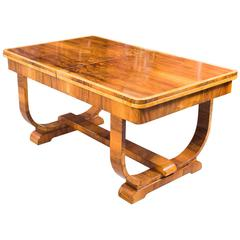 Antique Art Deco Burr Walnut Dining Table, circa 1930