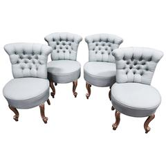 Set of Four Petite Italian Tufted Side Chairs