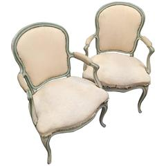 Pair of French Style Fauteuils with Painted Finish