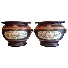 Pair of Porcelain Chinese Cachepots