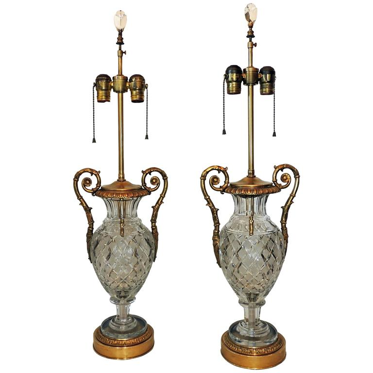 Beautiful Pair French Cut Crystal Doré Bronze Ormolu-Mounted Neoclassical Lamps