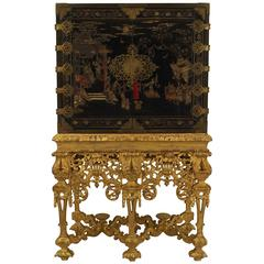 17th C. Chinese Coromandel Cabinet on a Charles II Gilt-wood Stand