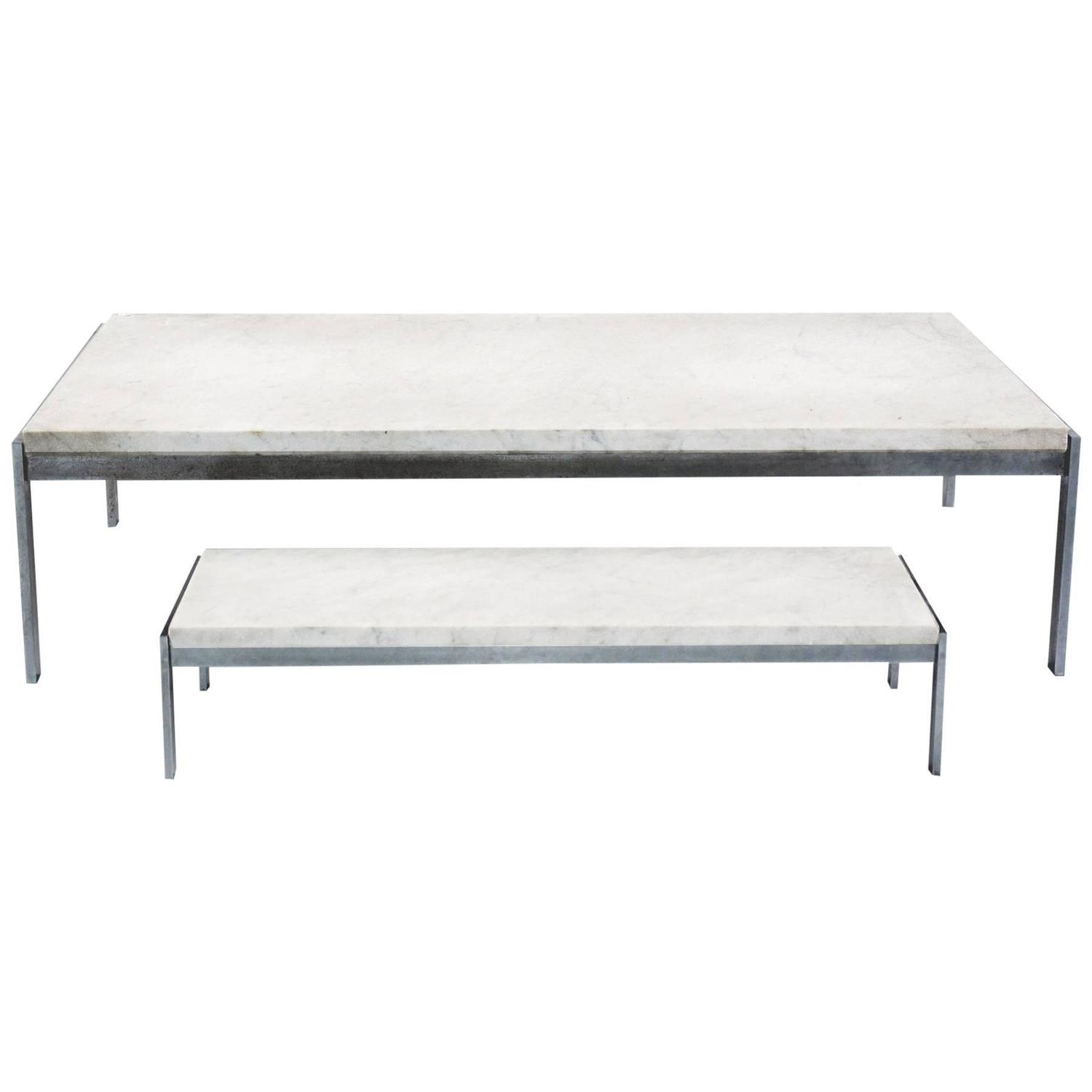 Ryan Marble Stainless Steel Square Coffee Table 60cm: Set Of Two Tables By Poul Kjaerholm, Denmark, 1965 For