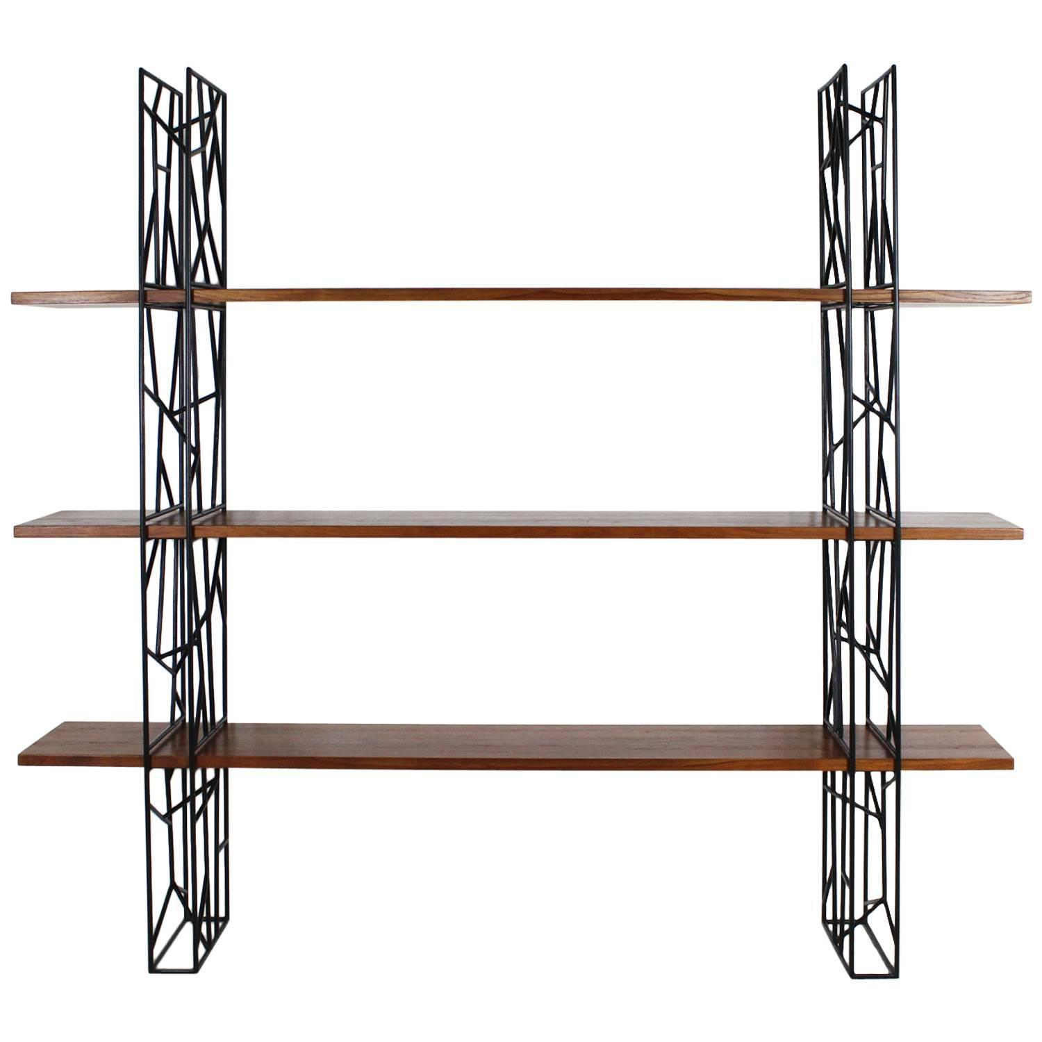 Wonderful image of Bookshelf with Black Metal Frame and Wood Shelves 1980 at 1stdibs with #6C3C24 color and 1500x1500 pixels