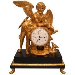 Vienna Classicism Mantel Table Clock Gilt Winged Cherub, circa 1800