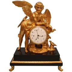 Vienna Classicism Mantel Table Clock Gilt Winged Cherub, circa 1800