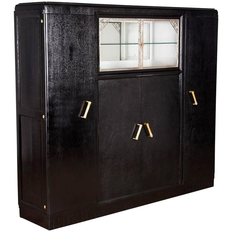 French Art Deco Armoire Painted Black, 1930s For Sale