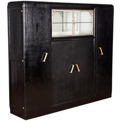 French Art Deco Armoire Painted Black, 1930s