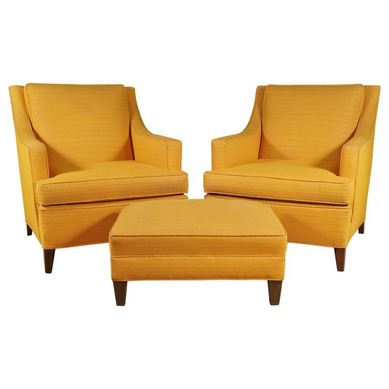 Pair Of Larson Armchairs And Ottoman In Bright Yellow For