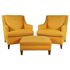 Pair of Larson Armchairs and Ottoman in Bright Yellow