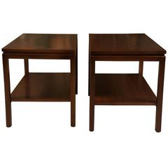 Pair of Modern Walnut End Tables with Shelves