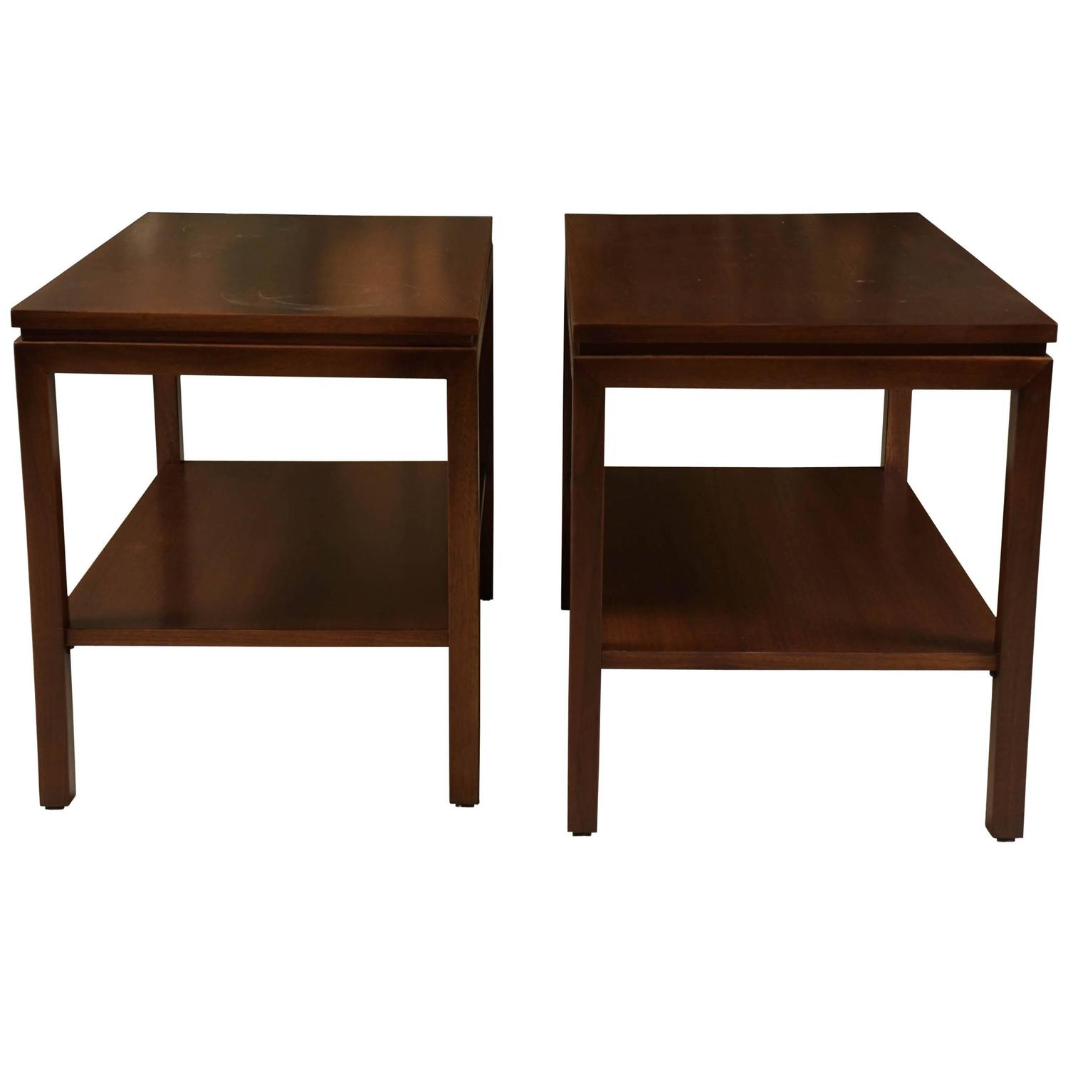 pair of modern walnut end tables with shelves at 1stdibs. Black Bedroom Furniture Sets. Home Design Ideas