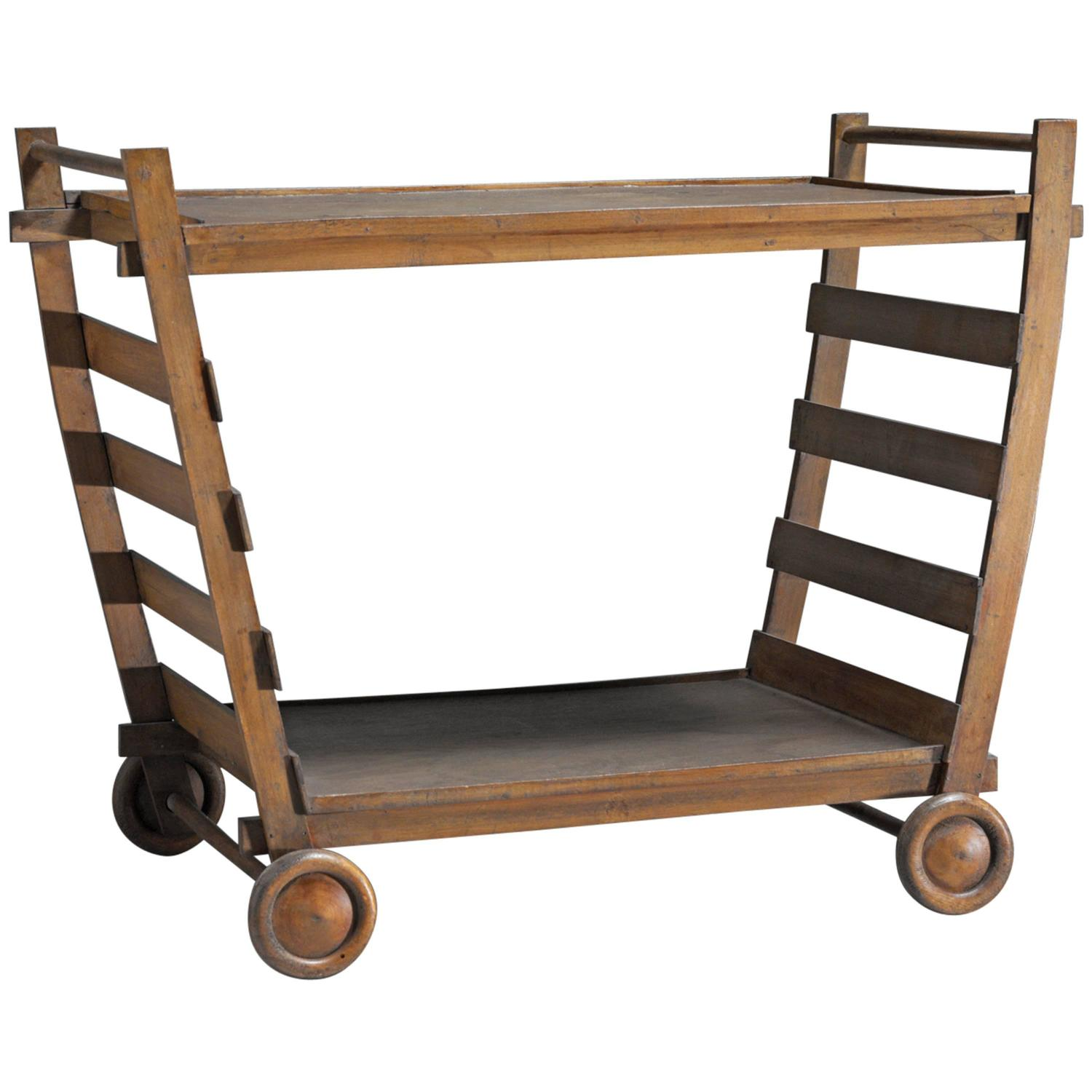 Wood Serving Cart ~ Gerrit rietveld very rare wooden serving trolley