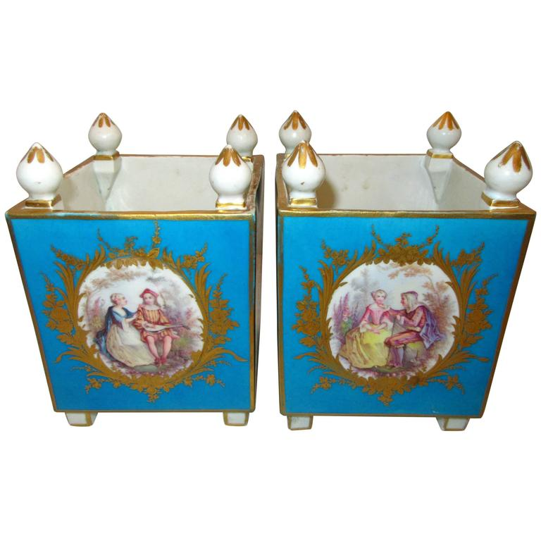 Pair of Early Sevres Bleu Turquoise Caisses a Fleur Carrees For Sale