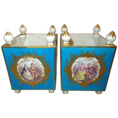 Pair of Early Sevres Bleu Turquoise Caisses a Fleur Carrees