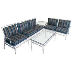 4 Pc Phyllis Morris Patio Set Sofa Sette Coffee & End Table Aluminum Porch Metal