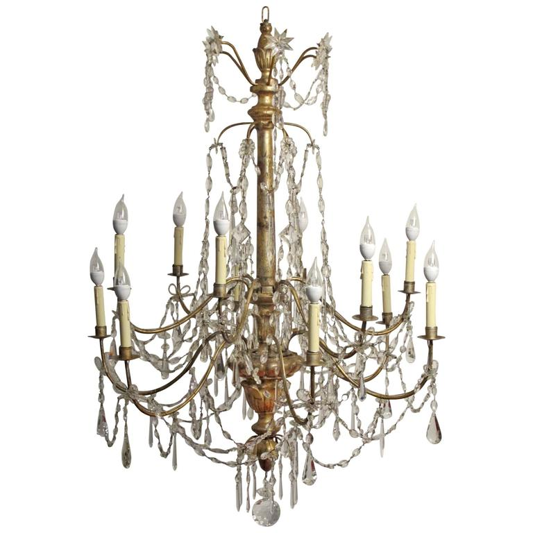 18th Century Silver Gilt Italian Chandelier