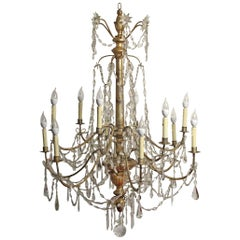 Large Silver Gilt Wood, Iron, and Crystal Chandelier, Italian 18th Century