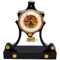 French Mantel Table Clock Wooden Chest Le Roi Paris, circa 1845