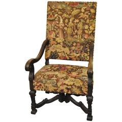 Antique French Chair with Original Needlepoint Upholstery