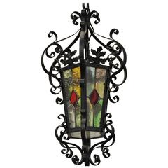 Antique French Stained Glass Iron Lantern