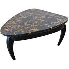Italian Black Marble Triangular Side or Accent Table