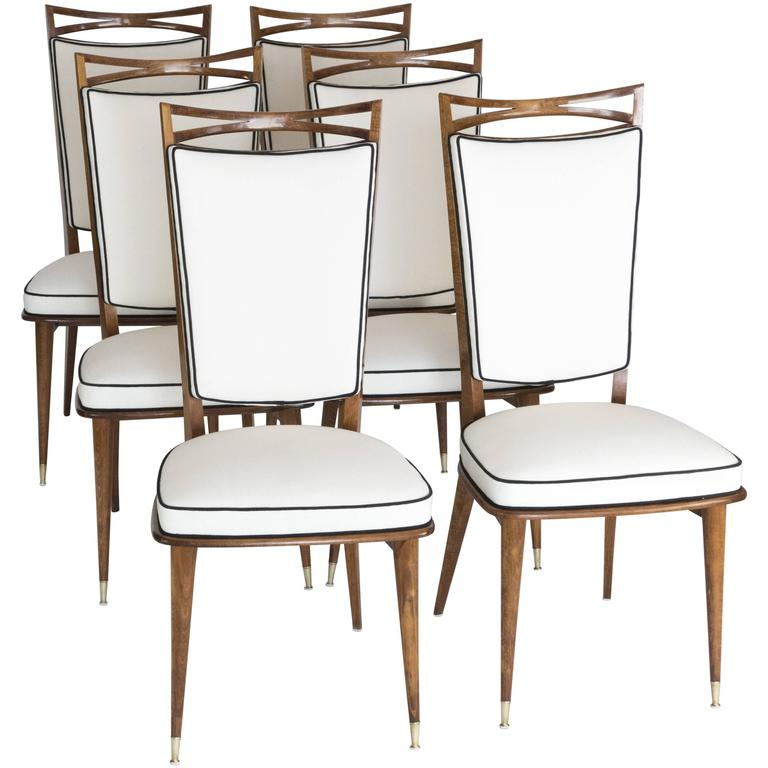 Set of Six French Mid-Century Dining Chairs
