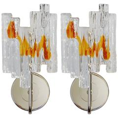 Pair of Italian Murano Geometric Glass Sconces by Salviati