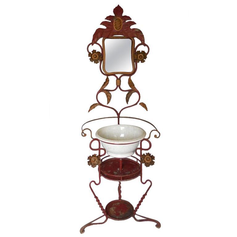 Bathroom Art Nouveau: Art Nouveau Whimsical Garden Sink With Mirror For Sale At