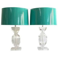 Pair of 1970s Karl Springer Style Lucite Spiral Lamps with Shades